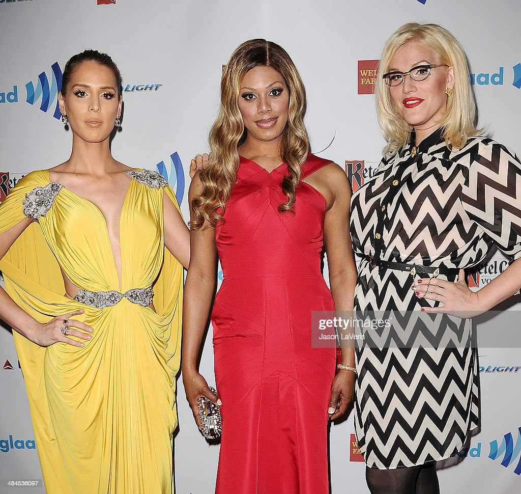 <a gi-track='captionPersonalityLinkClicked' href=/galleries/search?phrase=Carmen+Carrera&family=editorial&specificpeople=7433374 ng-click='$event.stopPropagation()'>Carmen Carrera</a>, <a gi-track='captionPersonalityLinkClicked' href=/galleries/search?phrase=Laverne+Cox&family=editorial&specificpeople=5848606 ng-click='$event.stopPropagation()'>Laverne Cox</a> and <a gi-track='captionPersonalityLinkClicked' href=/galleries/search?phrase=Our+Lady+J&family=editorial&specificpeople=5838650 ng-click='$event.stopPropagation()'>Our Lady J</a> attend the 25th annual GLAAD Media Awards at The Beverly Hilton Hotel on April 12, 2014 in Beverly Hills, California.