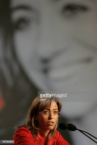 Carmen Chacon candidate of Catalonia speaks during a Socialist Party meeting in Barcelona on February 16 ahead of the elections in March The focus of...