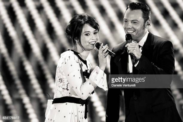 Carmen Consoli and Tiziano Ferro attend the opening night of the 67th Sanremo Festival 2017 at Teatro Ariston on February 7 2017 in Sanremo Italy