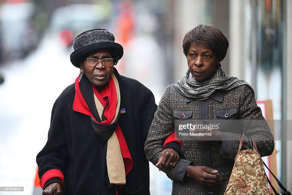 Carmen Constance-Briscoe (L) mother of barrister Constance Briscoe leaves the Old Bailey on May 1, 2014 in London, England. Constance Briscoe has been found guilty of lying to police investigating the case of former cabinet minister Chris Huhne.