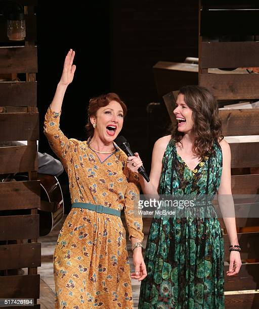 Carmen Cusack and Edie Brickell during 'Bright Star' Opening Night on Broadway Curtain Call at The Cort Theatre on March 24 2016 in New York City