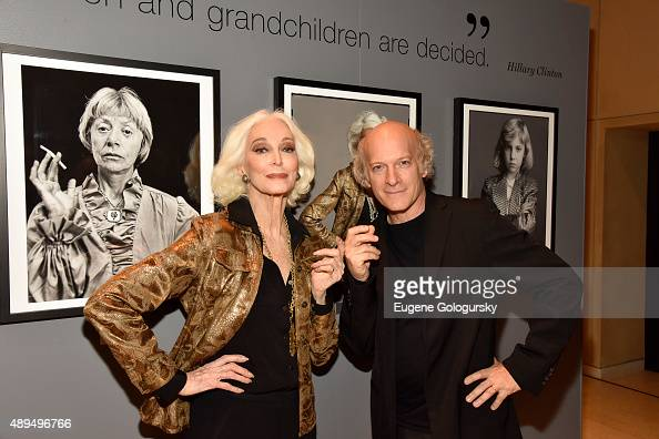 Carmen Dell'Orefice and Timothy GreenfieldSanders attend the Marie Claire Fidelity And WNET Celebrate The Women's List Premiere At Hearst Tower on...