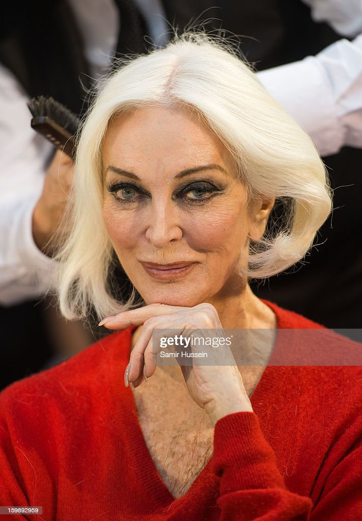 <a gi-track='captionPersonalityLinkClicked' href=/galleries/search?phrase=Carmen+Dell%27Orefice&family=editorial&specificpeople=664172 ng-click='$event.stopPropagation()'>Carmen Dell'Orefice</a> poses backstage at the Stephane Rolland Spring/Summer 2013 Haute-Couture show as part of Paris Fashion Week at Palais De Tokyo on January 22, 2013 in Paris France.