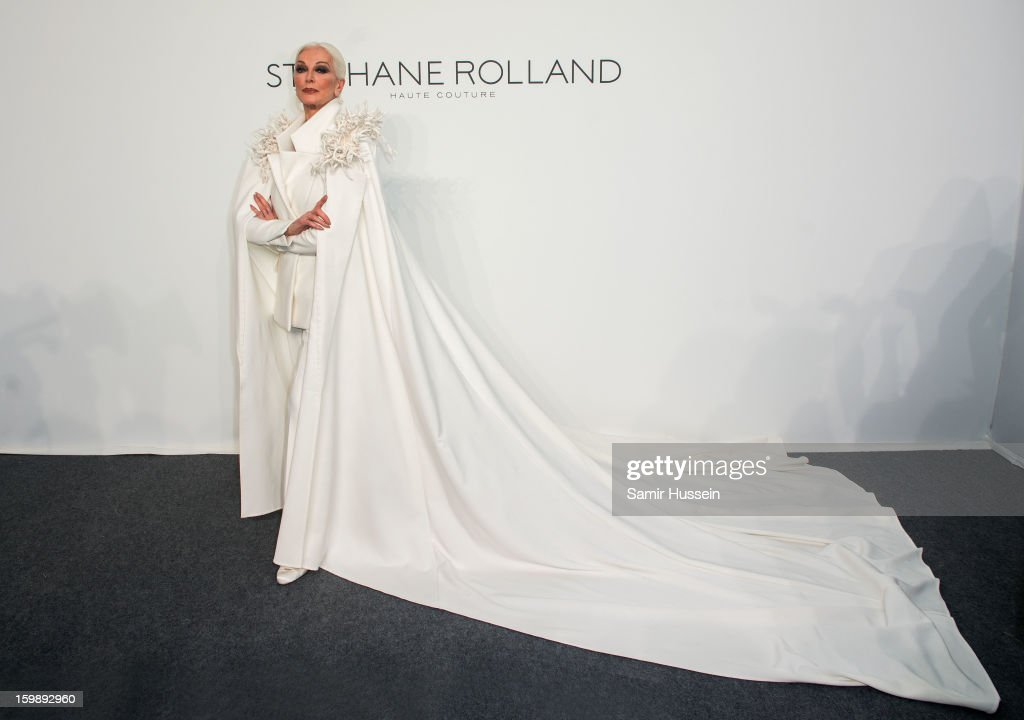 Carmen Dell'Orefice poses backstage at the Stephane Rolland Spring/Summer 2013 Haute-Couture show as part of Paris Fashion Week at Palais De Tokyo on January 22, 2013 in Paris France.