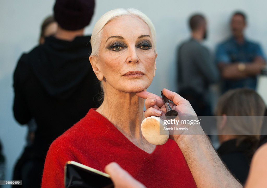 <a gi-track='captionPersonalityLinkClicked' href=/galleries/search?phrase=Carmen+Dell%27Orefice&family=editorial&specificpeople=664172 ng-click='$event.stopPropagation()'>Carmen Dell'Orefice</a> prepares backstage at the Stephane Rolland Spring/Summer 2013 Haute-Couture show as part of Paris Fashion Week at Palais De Tokyo on January 22, 2013 in Paris France.