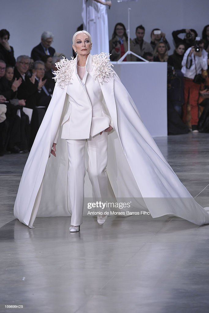 Carmen Dell'Orefice walks the runway during the Stephane Rolland Spring/Summer 2013 Haute-Couture show as part of Paris Fashion Week at Palais De Tokyo on January 22, 2013 in Paris, France.