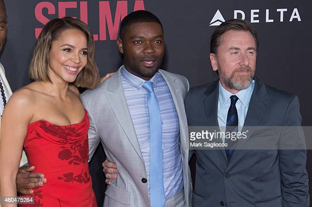 Carmen Ejogo David Oyelowo and Tim Roth attend the 'Selma' New York Premiere at the Ziegfeld Theater on December 14 2014 in New York City