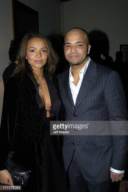 Carmen EjogoWright and Jeffrey Wright during HBO Films Pre Golden Globes Party Inside Coverage at Chateau Marmont in Los Angeles California United...