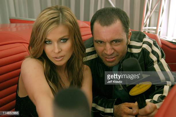 Carmen Electra and Joe Rogan during Spike TV's 1st Annual Autorox Awards Backstage at Barker Hanger in Santa Monica California United States