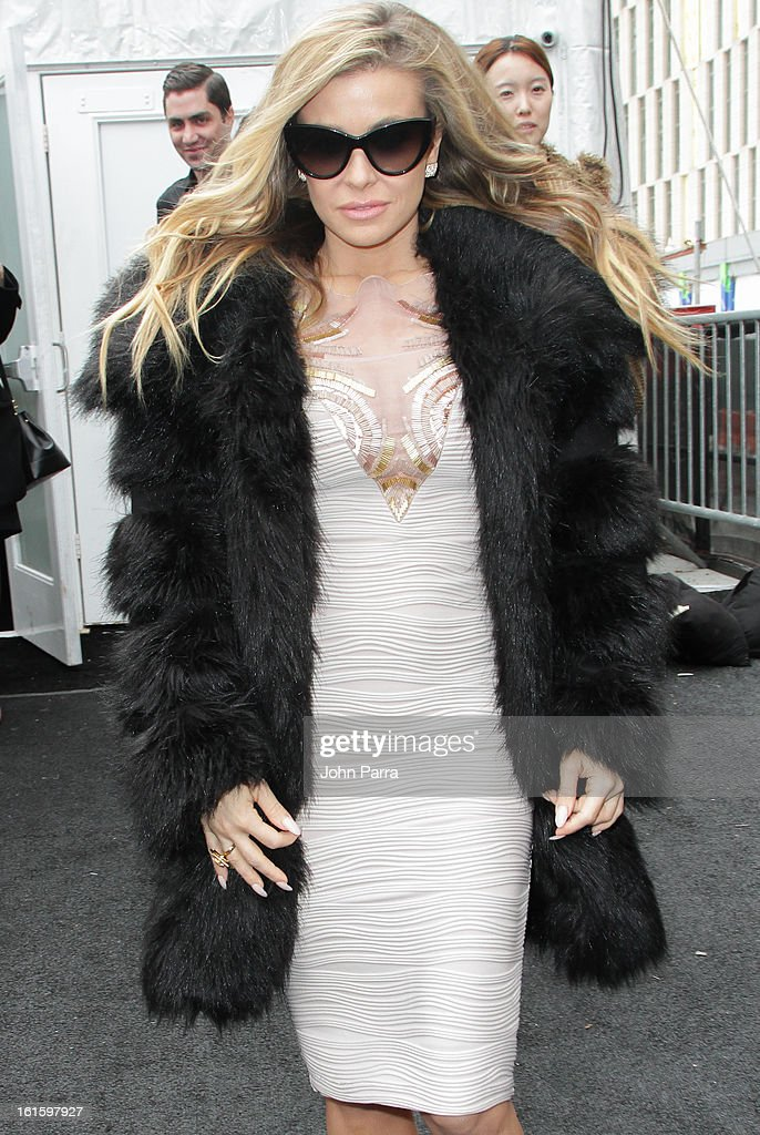 Carmen Electra is seen during Fall 2013 Mercedes-Benz Fashion Week at Lincoln Center for the Performing Arts on February 12, 2013 in New York City.