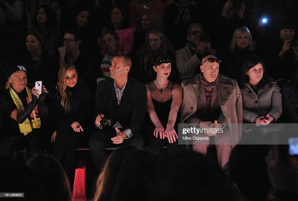 Carmen Electra, Nigel Barker, and Robert Verdi attend the Betsey Johnson Fall 2013 fashion show during Mercedes-Benz Fashion Week at The Studio at Lincoln Center on February 11, 2013 in New York City.