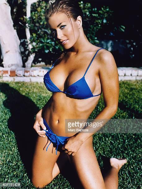 Carmen Electra Wearing a Blue String Bikini