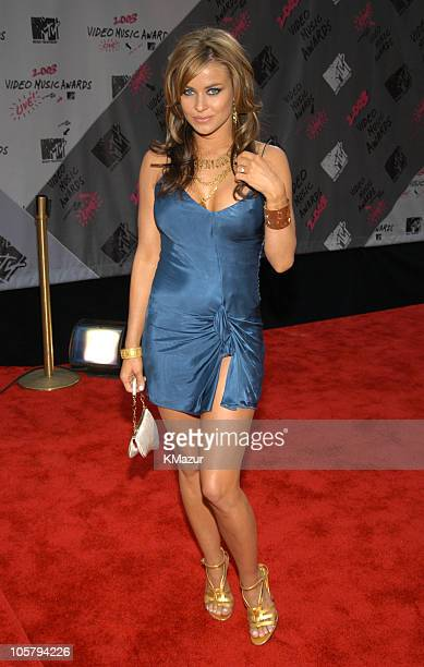 Carmen Electra wearing Dior during 2003 MTV Video Music Awards Red Carpet at Radio City Music Hall in New York City New York United States