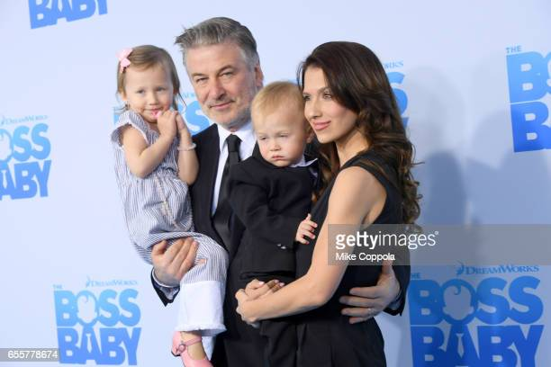 Carmen Gabriela Baldwin Alec Baldwin Leonardo Angel Charles Baldwin and Hilaria Baldwin attend 'The Boss Baby' New York Premiere at AMC Loews Lincoln...