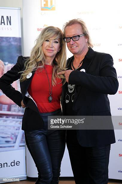 Carmen Geiss and her husband Robert Geiss during the presentation of the online fitness and nutrition program 'Kibootan' on December 17 2014 in...