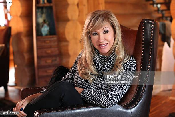 Carmen Geiss poses during a photo shooting in her house on December 13 2014 in Valberg France