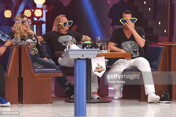 Carmen Geiss Robert Geiss and Gregor Glanz as Team Die Geissens during the tv show 'Der grosse RTL IIPromiKegelabend' on July 31 2016 in Winterberg...