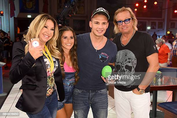 Carmen Geiss Sarah Lombardi Pietro Lombardi and Robert Geiss during the tv show 'Der grosse RTL IIPromiKegelabend' on July 31 2016 in Winterberg...
