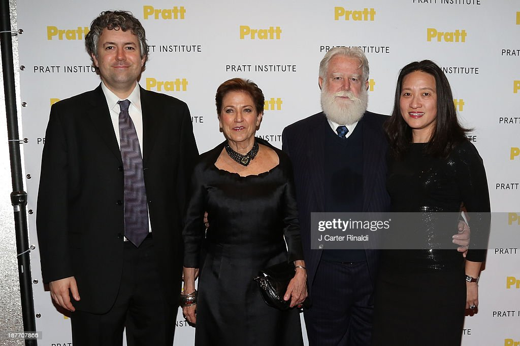 Carmen Giminez and Artist James Turrell attends Annual Pratt Institute gala at Mandarin Oriental Hotel on November 11 2013 in New York City