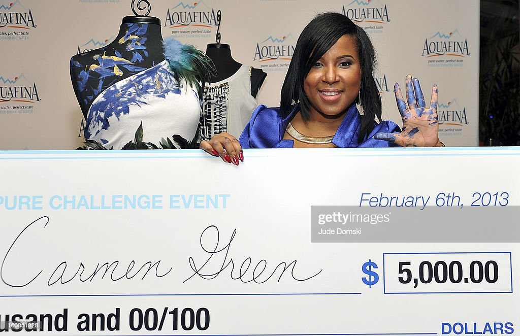 Carmen Green won The Aquafina 'Pure Challenge' at The Empire Hotel Rooftop on February 6, 2013 in New York City.