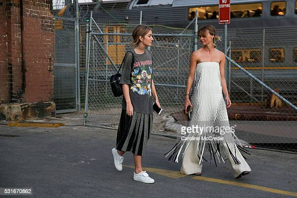 Carmen Hamilton and Natalie Cantell arrive ahead of the Aje show at MercedesBenz Fashion Week Resort 17 Collections at Carriageworks on May 16 2016...