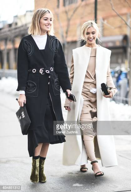 Carmen Hamilton and Sarah Ellen are seen at the Dion Lee show during New York Fashion Week Women's Fall/Winter 2017 on February 11 2017 in New York...