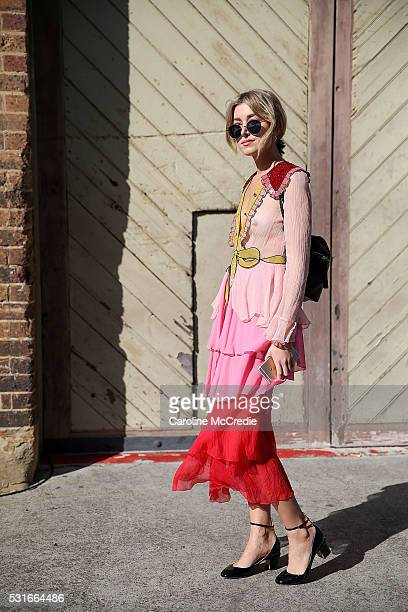 Carmen Hamilton wearing Gucci arrives ahead of the Ginger and Smart show at MercedesBenz Fashion Week Resort 17 Collections at Carriageworks on May...