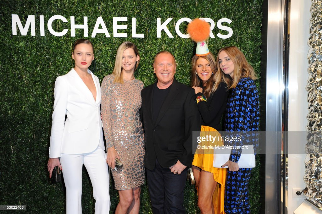 Carmen Kass, Karmen Pedaru, Michael Kors, Anna Dello Russo and Candela Novembre attend Michael Kors To celebrate Milano opening on December 4, 2013 in Milan, Italy.