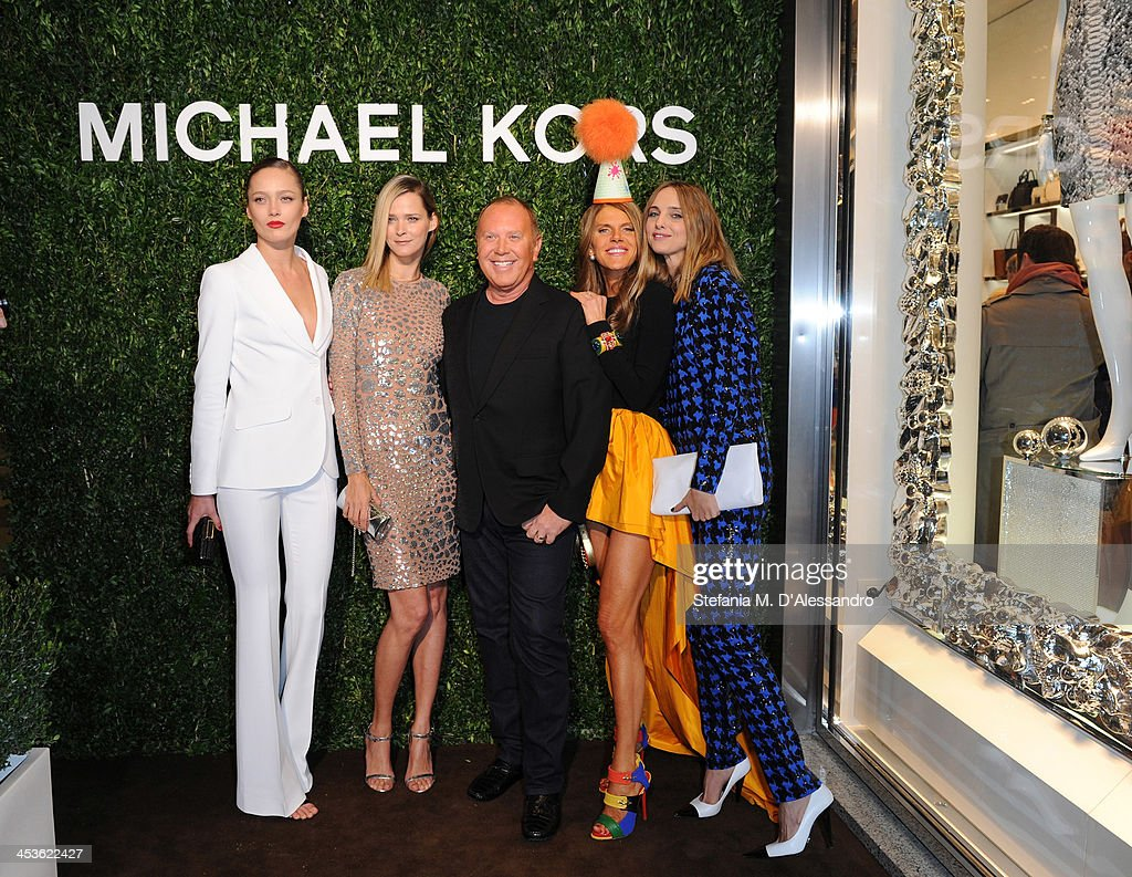 Carmen Kass, Karmen Pedaru, Michael Kors, Anna Dello Russo and Candela Novembre attend Michael Kors To celebrate Milano opening on December 4, 2013 in Milan, Italy.