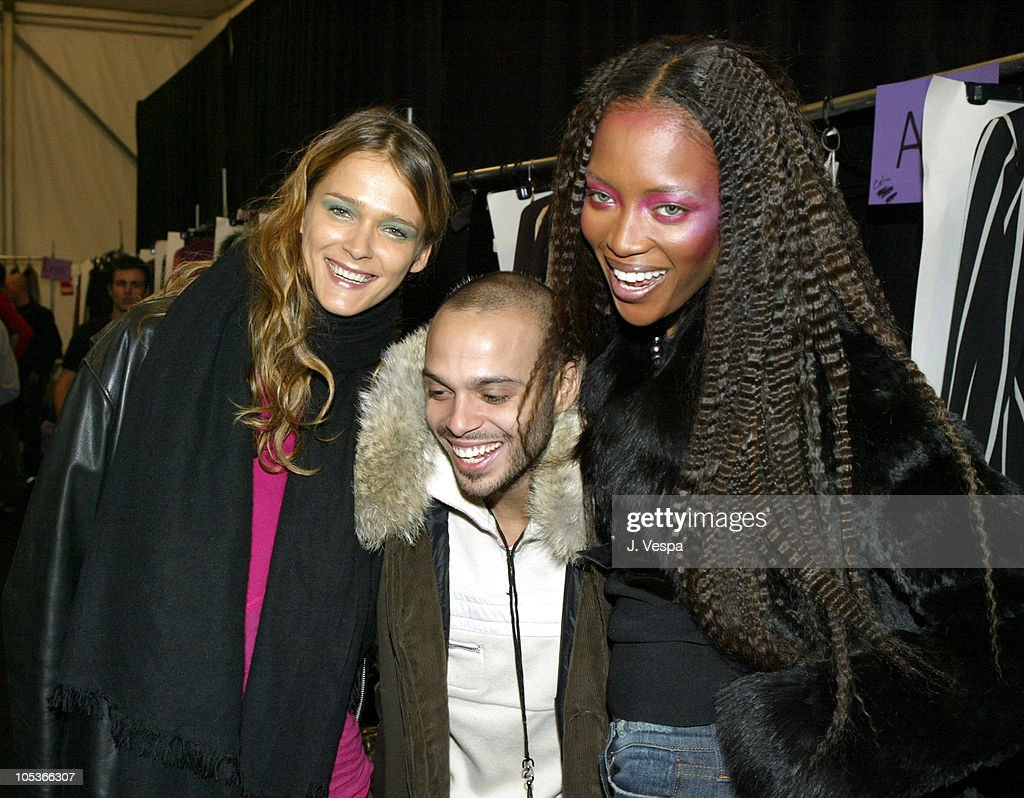 Carmen Kass Richie Akiva and Naomi Campbell during Olympus Fashion Week Fall 2004 Anna Sui Front Row and Backstage at The Tent at Bryant Park in New...