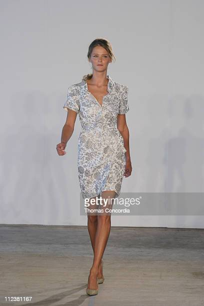 Carmen Kass wearing Roland Mouret Spring 2005 during Olympus Fashion Week Spring 2005 Roland Mouret Runway at West 49th Street in New York City New...