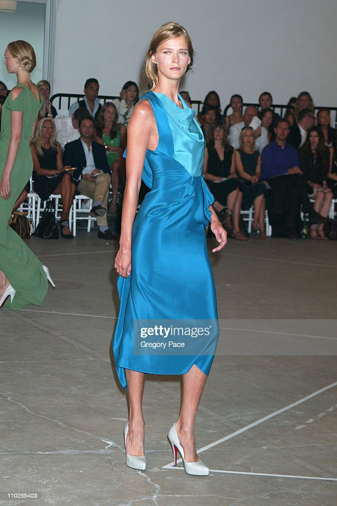 Carmen Kass wearing Roland Mouret Spring 2006 during Olympus Fashion Week Spring 2006 - Roland Mouret - Sponsored by Motorola - Front Row and Backstage at Skylight Studios in New York City, New York, United States.