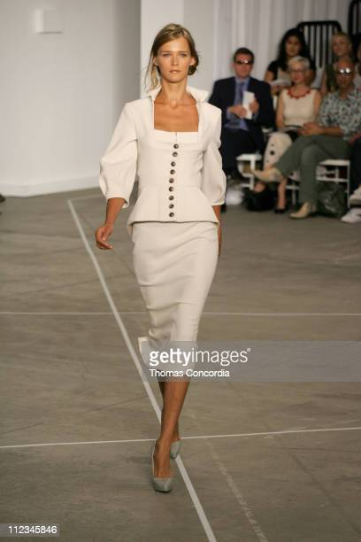Carmen Kass wearing Roland Mouret Spring 2006 during Olympus Fashion Week Spring 2006 Roland Mouret Runway at To Be Determined in New York City New...