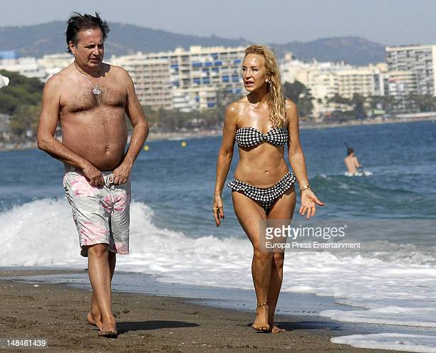 Carmen Lomana and a friend are seen on the beach on July 8 2012 in Marbella Spain
