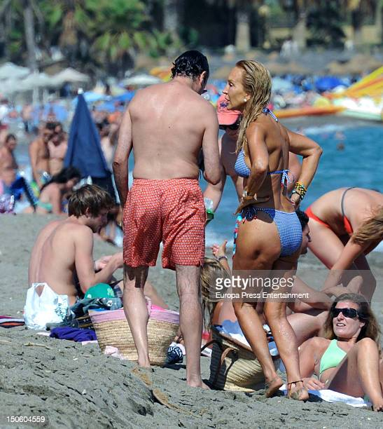 Carmen Lomana and Angel Casana are seen on August 6 2012 in Marbella Spain