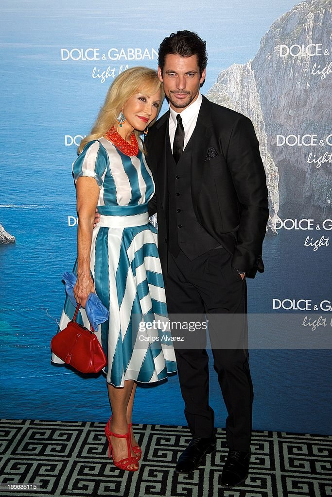 Carmen Lomana and model David Gandy attend Mediterranean Summer Cocktail By Dolce & Gabbana at the Santo Mauro Hotel on May 29, 2013 in Madrid, Spain.