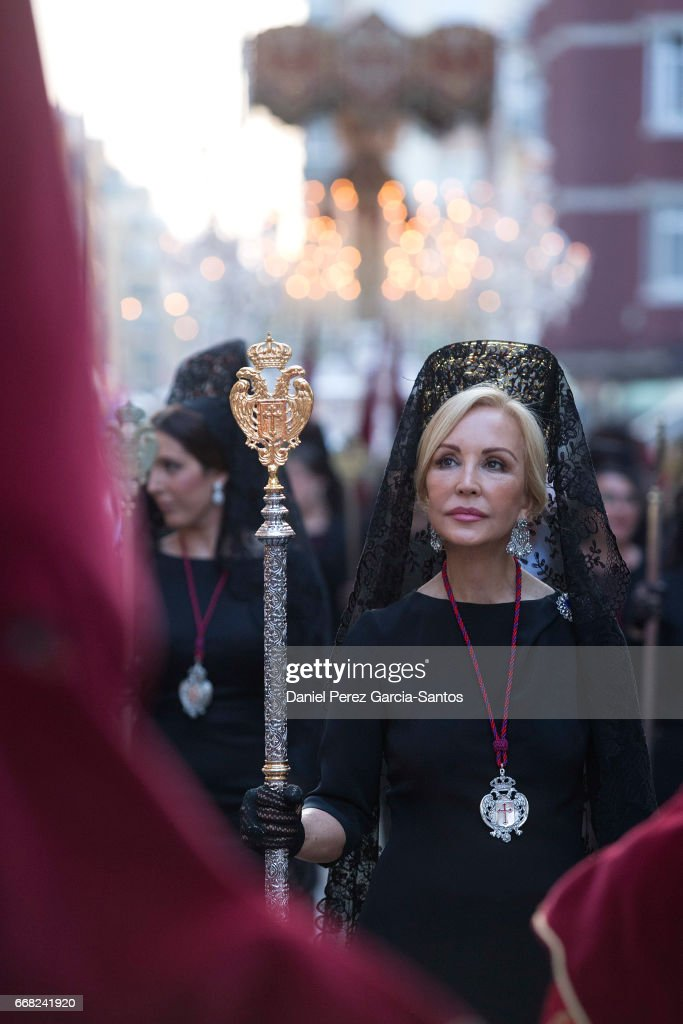 Carmen Lomana attends a procession the Zamarrilla wearing a traditional mantilla during the Holy Week celebrations on April 13, 2017 in Malaga, Spain.