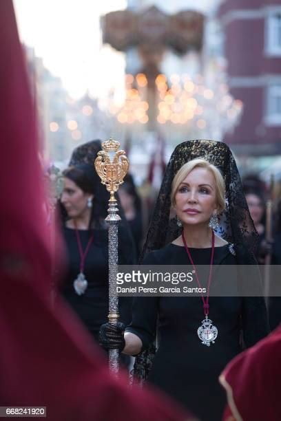Carmen Lomana attends a procession the Zamarrilla wearing a traditional mantilla during the Holy Week celebrations on April 13 2017 in Malaga Spain