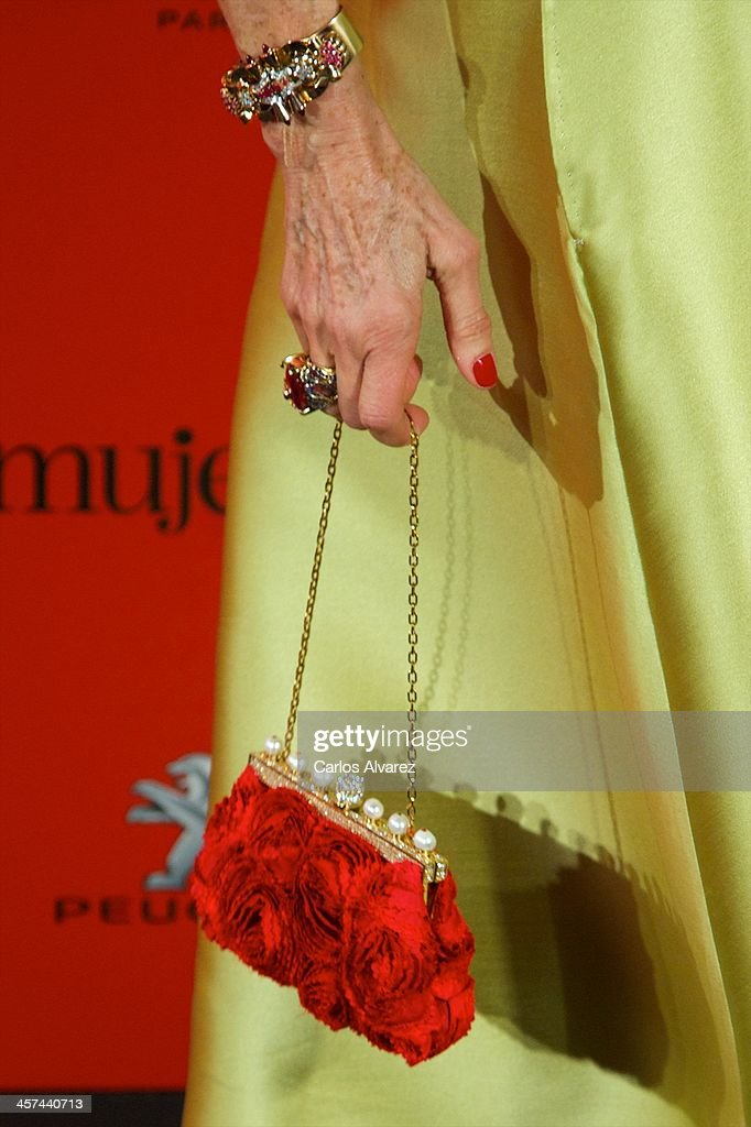 Carmen Lomana (bag detail) attends the 'Mujer de Hoy' awards 2013 at the Hotel Palace on December 17, 2013 in Madrid, Spain.