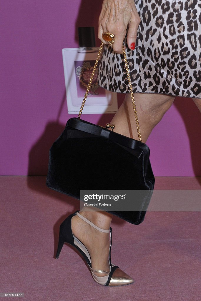 Carmen Lomana (shoe and bag detail) attends the presentation of the new fragrance from Alaska and Mario Vaquerizo in Madridon November 7, 2013 in Madrid, Spain.