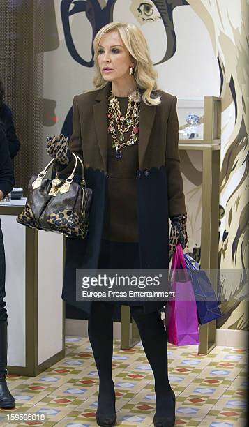 Carmen Lomana is seen trying on some jewels at 'Oh My Gold' jewelry shop on January 15 2013 in Madrid Spain