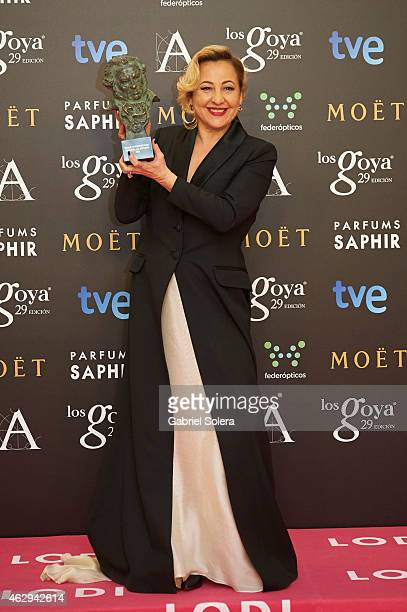 Carmen Machi holds the award for Best Actress in a Supporting Role in the film 'Ocho apellidos Vascos' during the 2015 edition of the Goya Cinema...