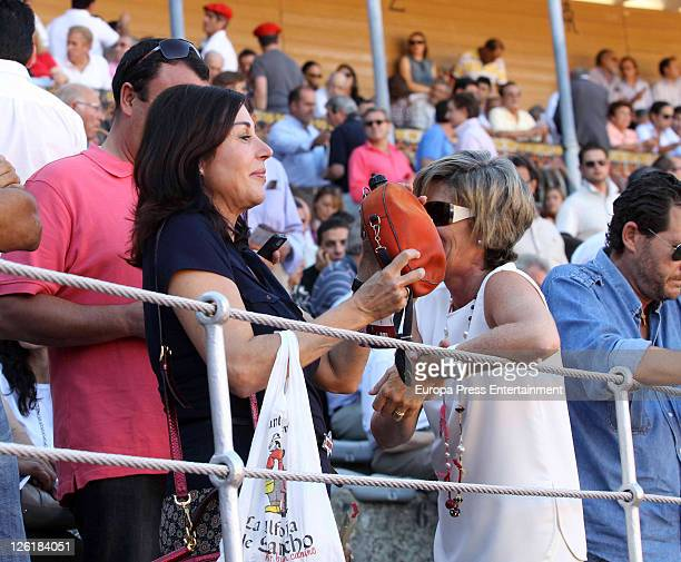 Carmen Martinez Bordiu is seen drinking from a wineskin on September 22 2011 in Salamanca Spain
