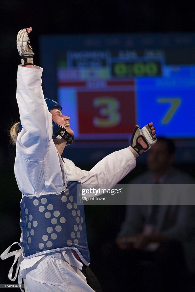 Carmen Marton of Australia celebrates after winning the women's -62 kg final combat of WTF World Taekwondo Championships 2013 at the exhibitions Center on July 21, 2013 in Puebla, Mexico.