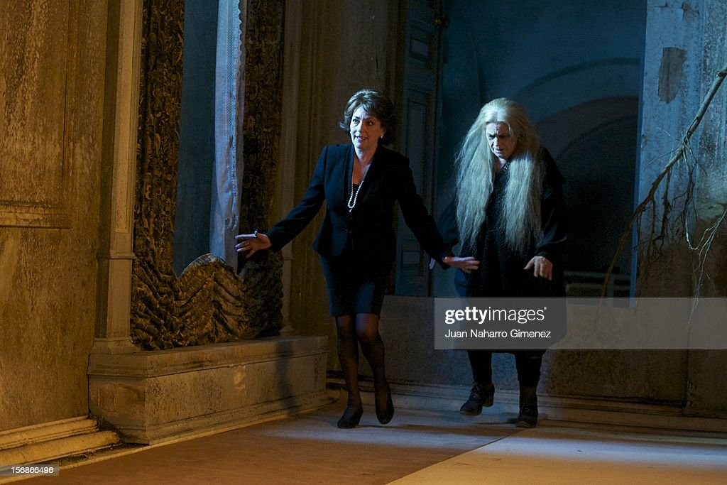 Carmen Maura (L) and Terele Pavez (R)attend 'Las Brujas de Zugarramurdi' on set filming at Palacio del Infante Don Luis on November 23, 2012 in Madrid, Spain.