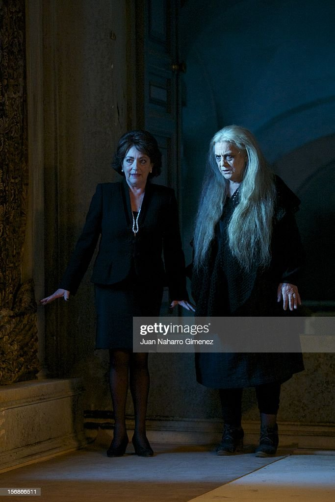 Carmen Maura (L) and Terele Pavez (R)attend 'Las Brujas de Zugarramurdi' on set filming at Palacio del Infante Don Luis on November 23, 2012 in Madrid, Spain.