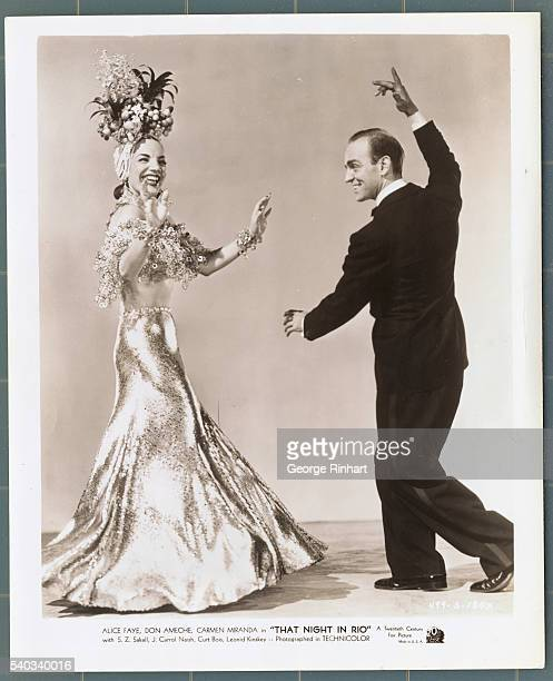 Carmen Miranda and dance partner in 20th Century Fox's That Night in Rio directed by Irving Cummings
