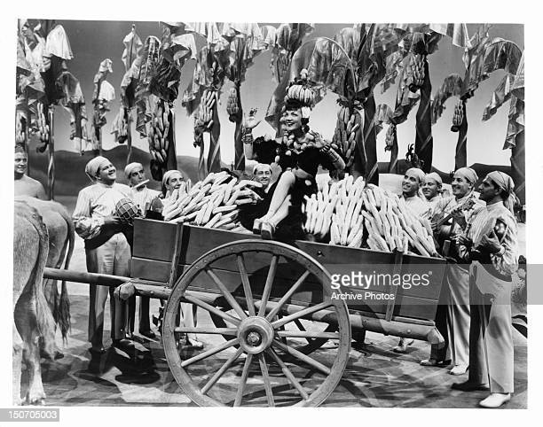 Carmen Miranda in carriage of bananas in a scene from the film 'The Gang's All Here' 1943