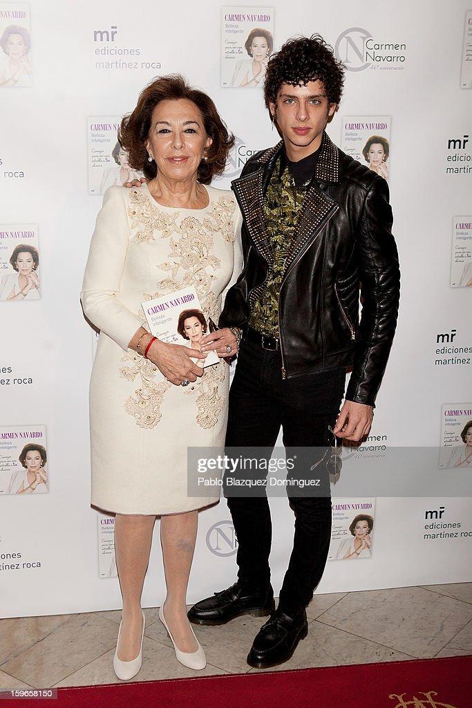 Carmen Navarro and Eduardo Casanova attend new book 'Belleza Inteligente' presentation at Casino de Madrid on January 16, 2013 in Madrid, Spain.