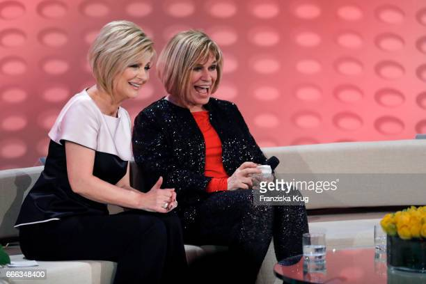 Carmen Nebel and Mary Roos during the television show 'Willkommen bei Carmen Nebel' on April 8 2017 in Magdeburg Germany